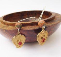 Flaming heart earrings, vintage earrings, unakite earrings, vintage brass, 1950s vintage, coloured brass, sterling silver by Graciedot2Treasures on Etsy