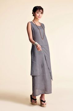 Loose Linen Dress with Collar and Large and Wide Cuffs  Soft Linen Maternity Dress  Linen Midi  Maxi Dress  Available in 50 Colors
