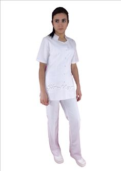 NU-09 NURSE UNIFORM • Top & Pant • Alpaca fabric, %65/35 poly/viscose • Bat collar • One chest and two patch pockets • Short or long sleeve options • With press stud or button • Wrinkle resistant • No yellowing • Color: White • Optional pastel colors • Sizes(US): XS – S -M - L - XL -2XL -3XL • Sizes(EU): 36 -38 -40 -42 -44 -46 -48