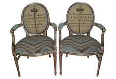 Upholstered French Chairs, Pair