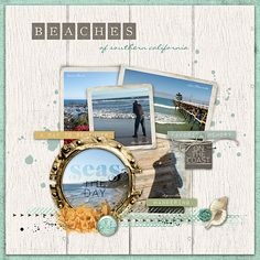 Seas the Day #Coastal Photo Clusters #desigerdigitals #digital scrapbook pages #southerncaliforniabeaches #