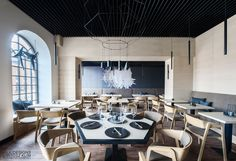 Hana Sushi Manufaktura, Łódź.   Minimalist japanese restaurant. Modern wallpaper design.  www.milkdesigns.pl Commercial Interior Design, Commercial Interiors, Hana Sushi, Sushi Restaurants, Restaurant Design, Teak, Conference Room, Table, Image