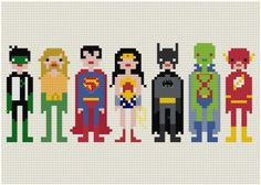 Cross-Stiched Super Heroes  http://whatanart.com/2011/12/20/cross-stitched-superheroes-villains-weelittlestitches/