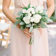 A bridesmaids bouquet of luscious white blooms and copious greenery with cascading sheer ribbon 😍 Kati Mallory Source Wedding Bridesmaid Bouquets, White Wedding Bouquets, Bride Bouquets, Floral Wedding, Wedding Day, Wedding Greenery, Bridemaid Bouquet, Diy Wedding, Mauve Wedding