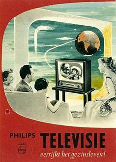 """Philips Television enriches family life!"" Dutch 1950s vintage advertisement."