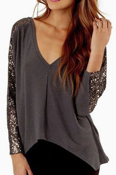 Laconic V Neck Long Sleeve T Shirt with Sequins