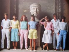 Not everything was leg Warmers and neon colors. Pastels were very big in the along with floral patterns. This was the preppy look, to go alongside the Punk neon look. 1980s Fashion Trends, 80s Trends, 80s And 90s Fashion, Tween Fashion, Preppy Fashion, Trends 2018, Fashion Clothes, 80s Womens Fashion, Pastel Fashion