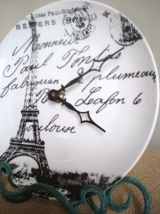 Repurpose a chipped, broken or new plate into a clock!  Great idea.
