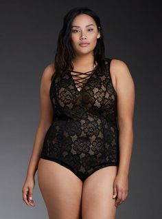 Plus Size Lace Up Front Lace Bodysuit