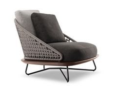 Steel and wood armchair RIVERA ARMCHAIR - Minotti
