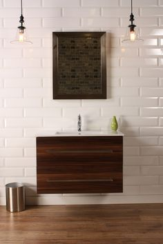 "Naos 32"" Walnut, Modern Wall Mount Bathroom Vanity, Featheredge - The Vanity Store Canada - 32"" - 1"