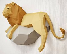 3D Papercraft Lion wall sculpture. DIY amazing Lion paper model! It really looks very stylish in the interior, attracts attention, and causes the effect of WOW! Now imagine the faces of your friends when you tell them that you did it with YOUR OWN HANDS :)) You are buying the digital