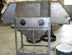 My sandblasting operation my sandblasting operation this image to show the full size version homemade sandblasting cabinet plans Wet Sandblasting, Sandblasting Cabinet, Outdoor Projects, Outdoor Decor, Metal Bending, Cabinet Plans, Metal Shop, Metal Fabrication, Diy Cabinets