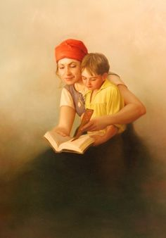 Reading and Books in Art:  Painting by  Joseph Brickey