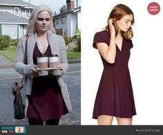 Liv's burgundy v-neck dress on iZombie.  Outfit Details: http://wornontv.net/47734/ #iZombie