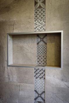Shower detail. Pattern tiles.