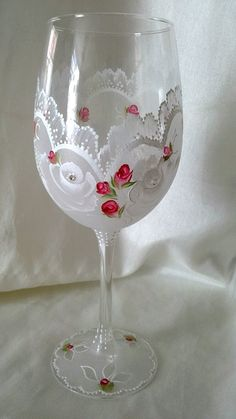 Aligri Personalized Gifts on Etsy Handpainted wine glass, lacey effect with roses , rosebuds and Austrian crystals Diy Wine Glasses, Decorated Wine Glasses, Hand Painted Wine Glasses, Painted Wine Bottles, Glass Bottles, Wine Glass Crafts, Wine Bottle Crafts, Bottle Painting, Bottle Art