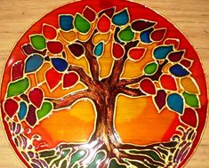 Stained Glass Paint, Stained Glass Projects, Stained Glass Patterns, Mosaic Patterns, Tree Of Life Art, Tree Art, Mandala Painting, Dot Painting, Recycled Cds