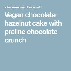 Vegan chocolate hazelnut cake with praline chocolate crunch