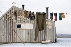 clothes out in the open --reminds me of growing up! Laundry Lines, Laundry Area, Laundry Room, Scandinavian Cabin, Camper, Broken Home, Longyearbyen, Winter Wonder, Recipe For Mom
