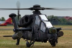 Take off TAI T129 Attack helicopter - Turkish Air Force helicopter during air show in Radom.