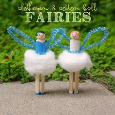 Clothespin and Cotton Ball Fairies