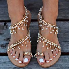 Flat Gladiator Sandals Rhinestones Chains ARISTOCRATIC Pearl Sandals, Beaded Sandals, Greek Sandals, Flat Sandals, Leather Sandals, Gladiator Sandals, Flats, Bling Sandals, Leather Wedges