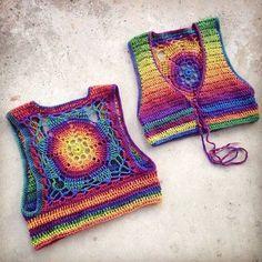 Crochet Pattern - Cropped Sleeveless Sweater Shrug Vest Lace Up Mandala Bohemian // Luna Mandala Vest PATTERN - Knitting Gilet Crochet, Crochet Vest Pattern, Crochet Mandala Pattern, Crochet Blouse, Crochet Bikini, Knitting Patterns, Crochet Patterns, Knit Crochet, Crochet Vests
