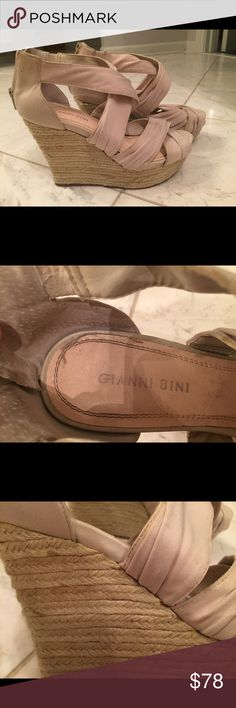 Gianni Bini strappy, tan wedges Lightly worn. Size 7.5 Gianni Bini Shoes Wedges