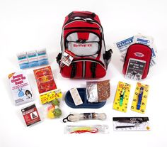 """72 Hour Cat Survival Kit- FAMILY STOREHOUSE- This Cat Survival Kit is packaged in our red Backpack with the words """"Survival Kit"""" on it and has been designed to provide your pet with all of the necessary items to survive if you are ever forced to evacuate.  By owning this survival kit, you will have peace of mind knowing that your cat will be safe and comfortable in any type of disaster."""