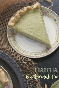 Tangy buttermilk custard pie infused with matcha green tea powder.