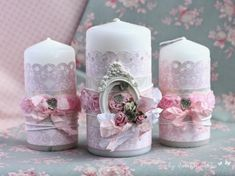 Velas Rainbow Wedding Centerpieces, Candle Centerpieces, Pillar Candles, Hobbies And Crafts, Diy Crafts For Kids, Shabby Chic Candle, Handmade Candles, Decorated Candles, Candle Craft
