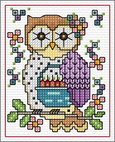 """""""June"""" Owls SAL 2019 - Lesley Teare posted Jun You can obtain her patt. - """"June"""" Owls SAL 2019 – Lesley Teare posted Jun You can obtain her pattern with colo - Cross Stitch Sampler Patterns, Cross Stitch Owl, Butterfly Cross Stitch, Cross Stitch Bookmarks, Cross Stitch Cards, Cross Stitch Alphabet, Cross Stitch Samplers, Cross Stitch Animals, Cross Stitch Kits"""