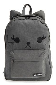 This denim backpack with the face of an adorable feline with pointy ears is sure to be a favorite accessory for school days and weekend trips.
