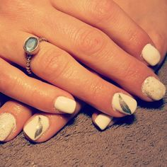 White silver feather glitter nails