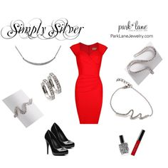 """""""Simply Silver"""" by parklanejewelry on Polyvore Park Lane Jewelry Featured: Pretty Please Necklace, Affection Ring & Bracelet, Tenderness Ring, and Hoop Earrings"""