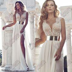 New 2014 Deep V-Neck Embroidery Beaded Gold Metal Belt Chiffon Julie Wedding Dresses Designer Special Occasion Dress Multi Color US $189.00