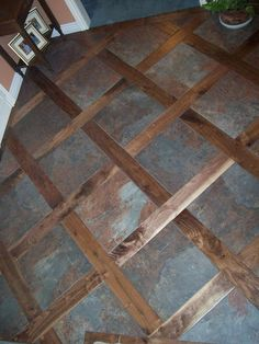 A custom tile & wood mixed floor. Good idea for transitioning from a tile floor … A custom tile & wood mixed floor. Good idea for transitioning from a tile floor to a wood floor in any home! Wood Tile Floors, Kitchen Flooring, Hardwood Floors, Patio Flooring, Flur Design, Tile Design, Tile Floor Designs, Bathroom Floor Tiles, Home Remodeling