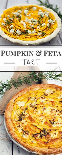 Pumpkin and Feta Tart is a delicious vegetarian dish perfect as a tasty centrepiece for a meatless meal. Puff pastry, pumpkin, feta, eggs, and cream Vegetarian Pie, Vegetarian Recipes Easy, Veggie Recipes, Cooking Recipes, Healthy Recipes, Savory Pumpkin Recipes, Rice Recipes, Feta, Vegetable Dishes