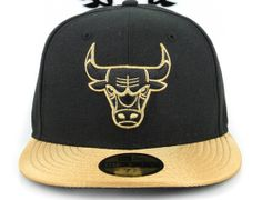 Chicago Bulls Black Argent Gold White AJ I New Love New Era 59Fifty Fitted Hat