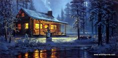 In Don Kloetzke's print ANOTHER WHITE CHRISTMAS a snowman outside a log cabin wears Aaron Rodgers #12 jersey. Maybe they are watching a Packers game inside.