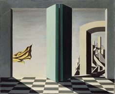"""Kay Sage: """"The upper side of the Sky-from dreaming with Open eyes"""" ,1944."""