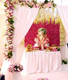 HappyShappy - India's Best Ideas, Products & Horoscopes Flower Decoration For Ganpati, Kite Decoration, Ganpati Decoration Design, Mandir Decoration, Ganapati Decoration, Diwali Decorations, Festival Decorations, Ceremony Decorations, Flower Decorations