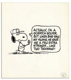 Charles Schulz ''Peanuts'' Original Artwork Starring Snoopy as a Golfer