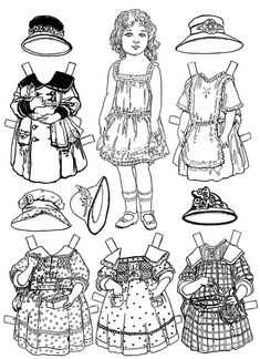 Paper Doll Coloring Page from Girls Coloring Pages category. Find out more cool images to color for your children Coloring Pages For Girls, Free Coloring Pages, Coloring Books, Adult Coloring, Paper Doll Template, Paper Dolls Printable, Printable Vintage, Paper Toys, Paper Crafts