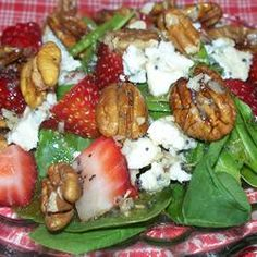 Spinach Salad with Poppy Seed Dressing Allrecipes.com. This was really good. Only need half the dressing, which is very oniony. I used feta cheese and candied walnuts instead of blue cheese and pecans.