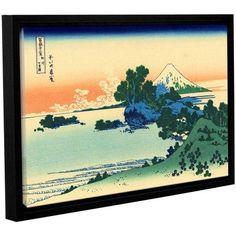 ArtWall Katsushika Hokusai Shichiri Beach in Sagami Province Gallery-Wrapped Floater-Framed Canvas, Size: 24 x 36, White