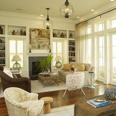 Living room with beautiful windows and doors