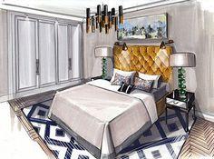 Croquis d'ambiance : chambre - charme - tête de lit capitonnée