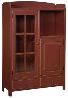 Shown in Red sand-thru paintFeatures 3 adjustable shelves